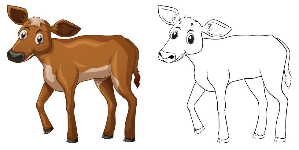 Djur skiss för liten ko