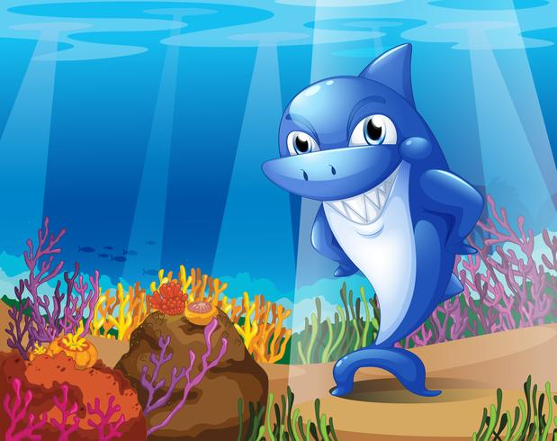 En läskig blå haj under havet
