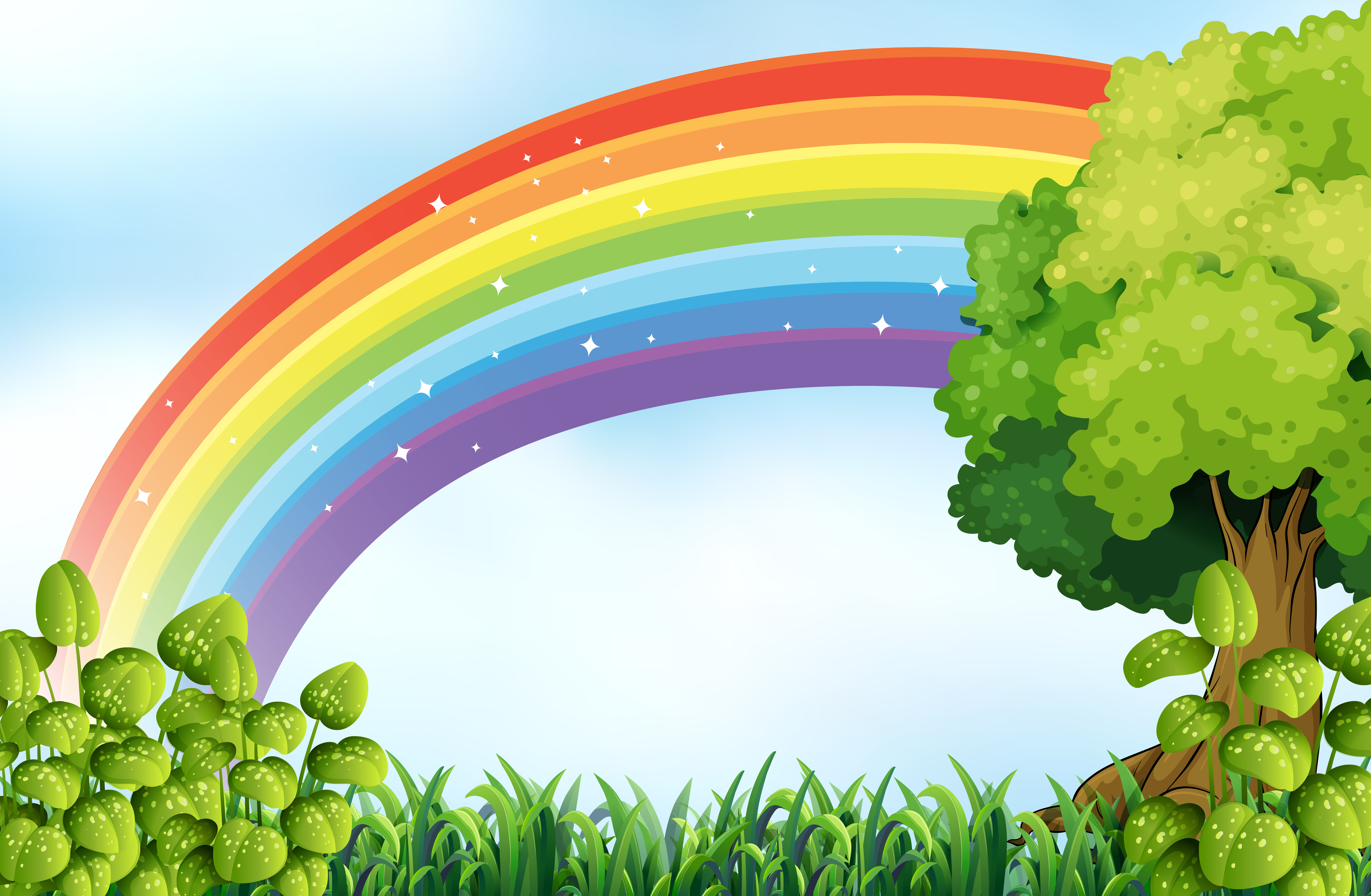 nature rainbow scene vector clipart graphics resources