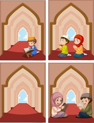 Un insieme di musulmani in moschea