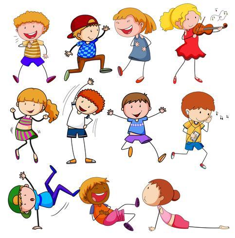 Gekritzelkinder mit unterschiedlicher Aktivität