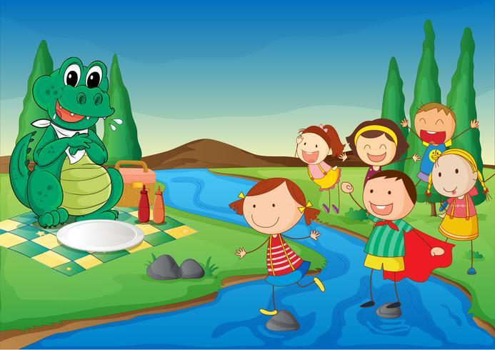 Un río, un dinosaurio y niños.