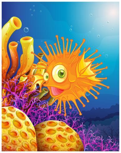 Un pesce palla arancione vicino alle barriere coralline