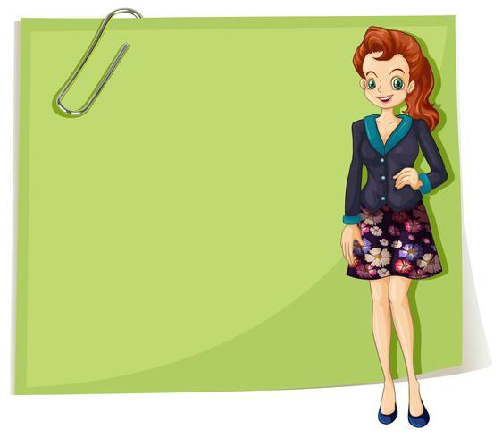 Uma garota jovem negócios na frente do modelo vazio