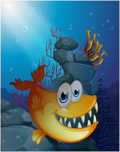 A scary fish under the sea near the rocks