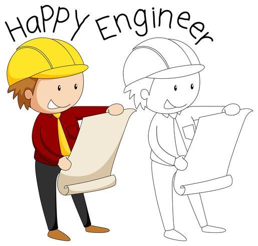 Doodle glücklich Ingenieur Charakter