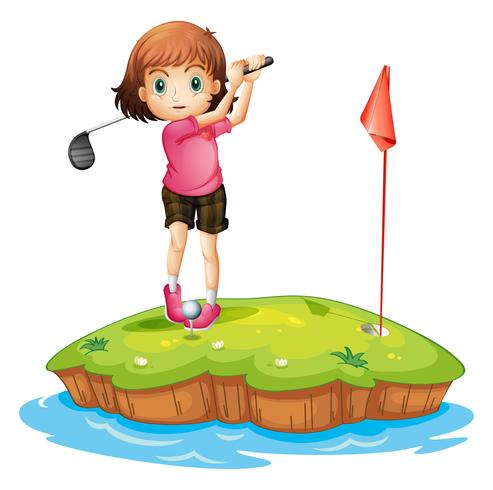 Una isla con una niña jugando al golf.
