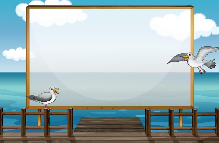 Design de fronteira com pássaros no mar