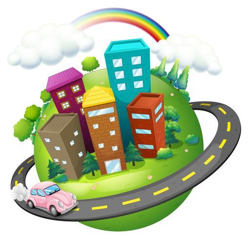 Una strada che circonda la città
