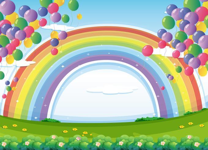 Um céu com um arco-íris e balões coloridos flutuantes