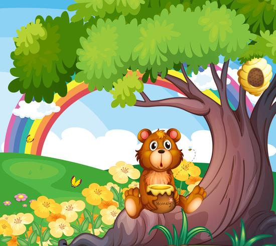 En björn under trädet med en regnbåge på baksidan