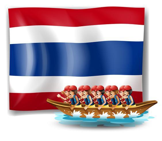 Una barca con uomini vicino la bandiera della Thailandia