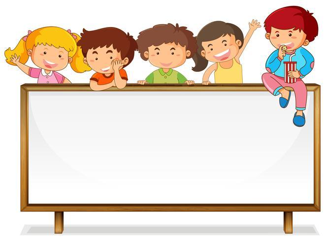 Kinder auf Whiteboard Banner