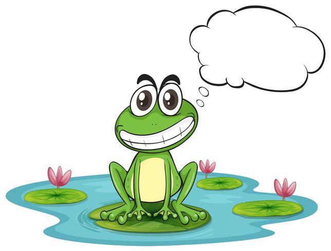 Ein Frosch am Teich mit leerem Hinweis