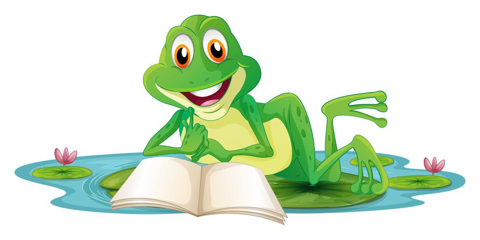 Een kikker die terwijl het lezen van een boek ligt