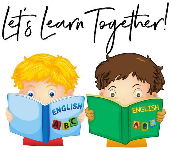 Ragazzi che leggono il libro con la frase impariamo insieme vettore