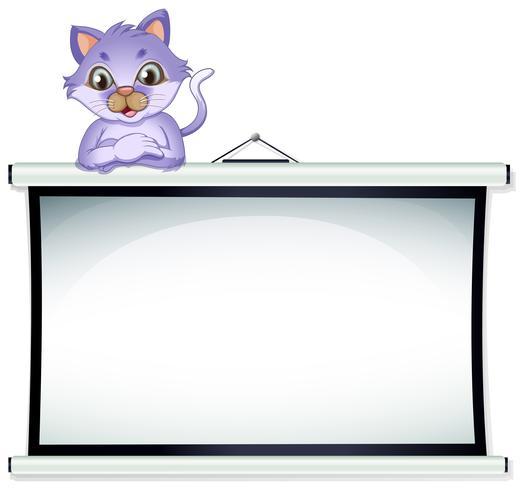 En tom whiteboard med en katt