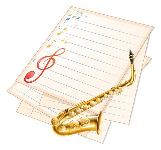 Een leeg muziekpapier met een saxofoon