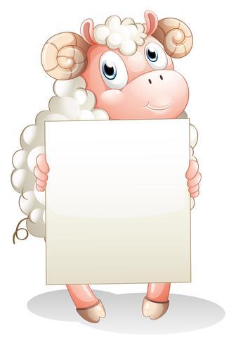 A sheep holding an empty cardboard