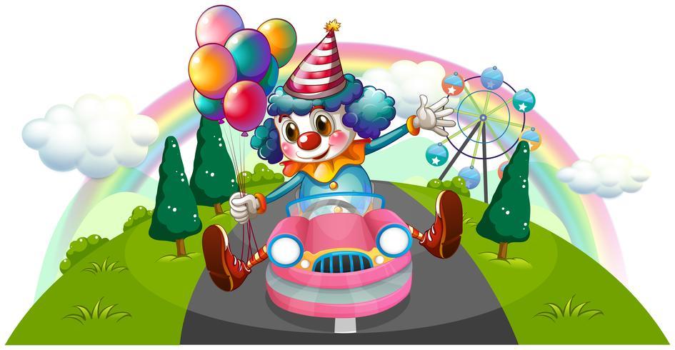 Un clown à cheval dans une voiture rose avec des ballons