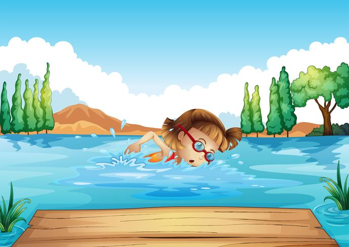 A girl practicing swimming