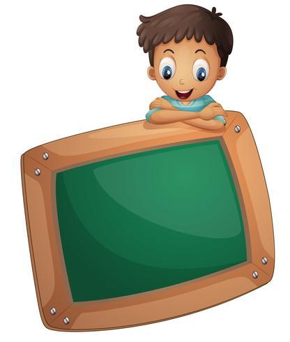 En pojke med en tom kartong