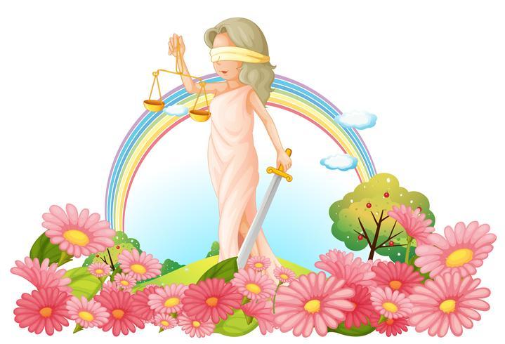 Una mujer con una balanza en el jardín. vector