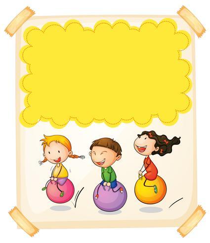 Pappersdesign med tre barn på stora bollar