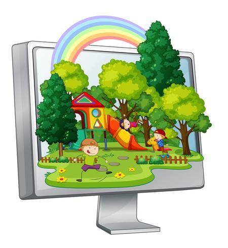 Enfants jouant dans l'aire de jeu sur un écran d'ordinateur