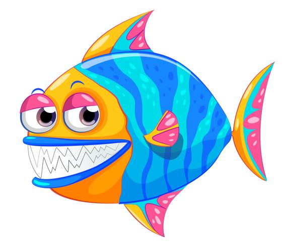 A colorful piranha vector
