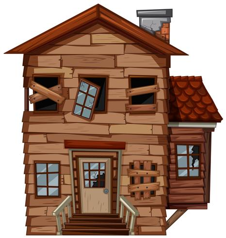 Wooden house with bad condition vector