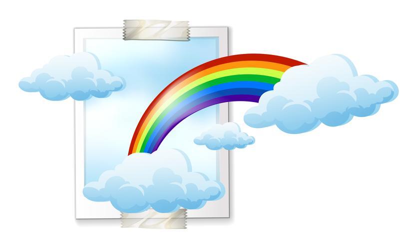 Sky scen med färgstark regnbåge