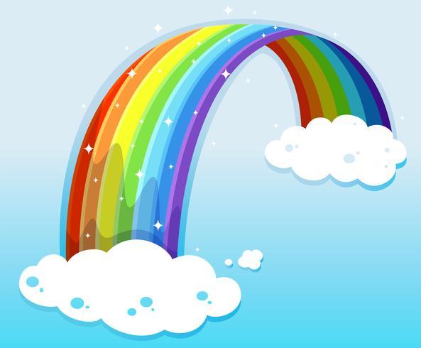 A sky with a sparkling rainbow