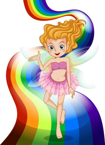 A fairy standing at the rainbow