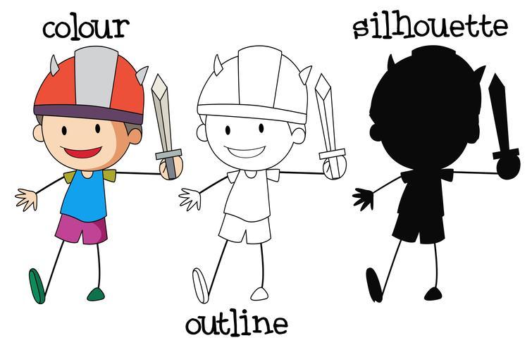 Set av pojke som håller svärd