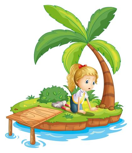 Een triest meisje op het eiland dat naar het water kijkt