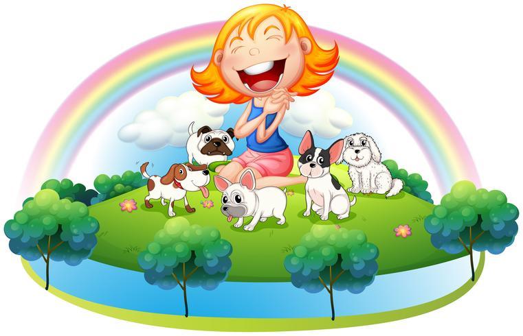 Eine Insel mit einem Mädchen und ihren fünf Haustieren