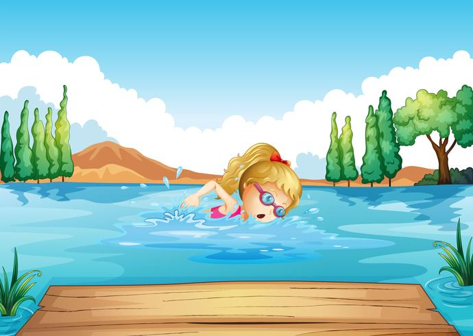 A girl swimming in the river