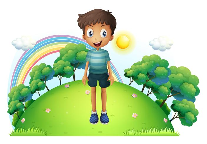 A boy standing in the middle of the hill vector