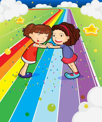 Two girls holding their hands at the colorful road vector
