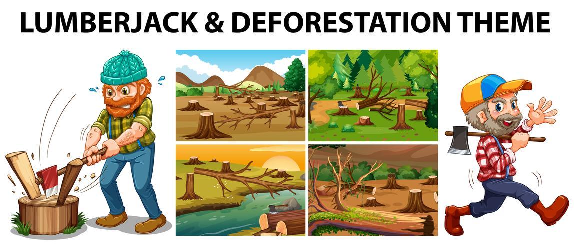 Lumberjack and deforestation scenes