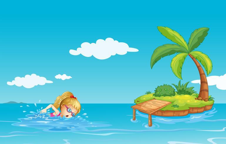 Una niña nadando cerca de una isla con un árbol de coco.