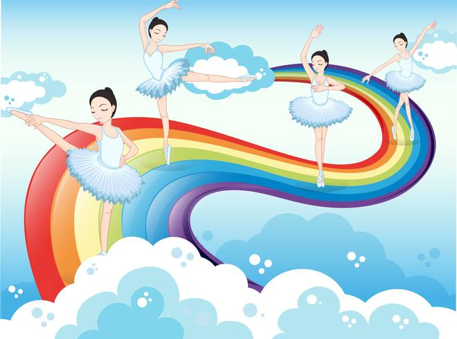 Ballet dancers in the sky with a rainbow vector