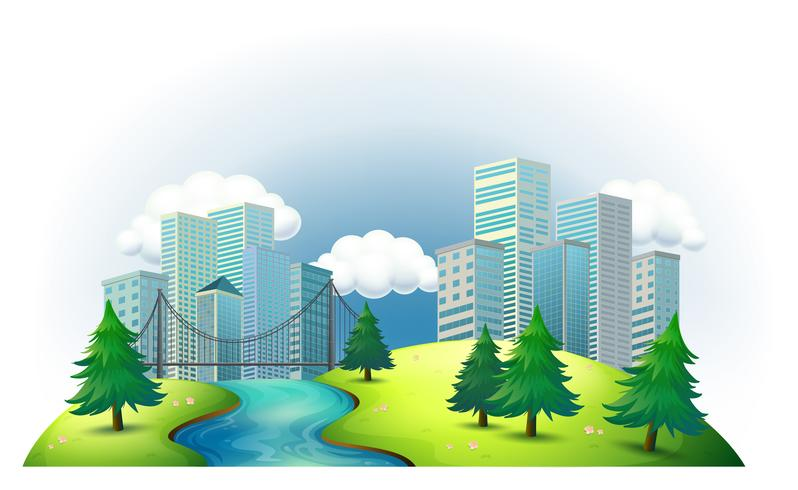 Tall buildings in an island with a river and pine trees