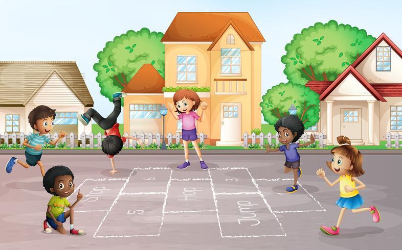 Barn som spelar hopscotch på byn