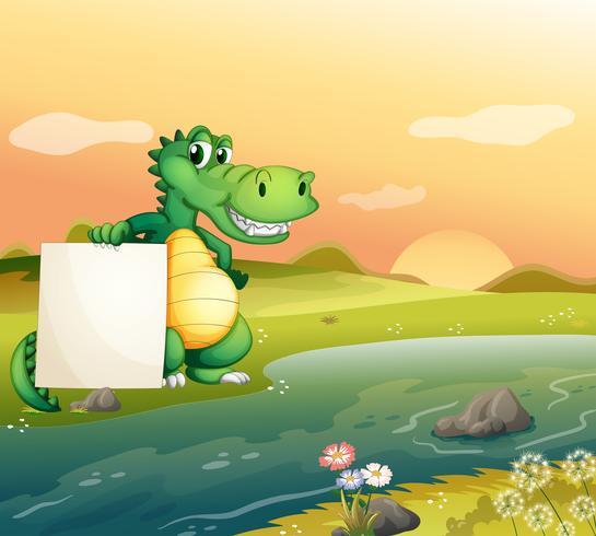 Ein Alligator mit einem leeren Brett am Flussufer