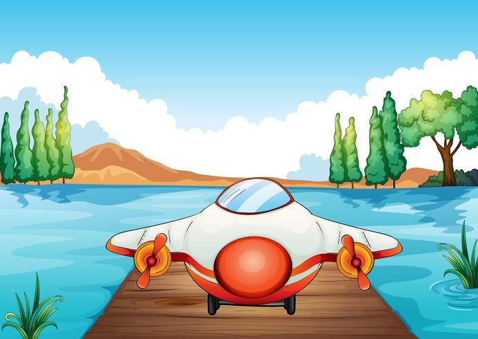 vliegtuig landing in de natuur