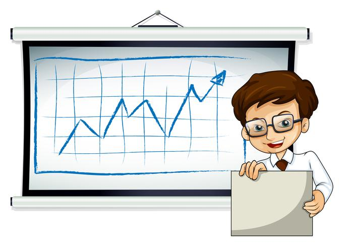 A happy businessman in front of the whiteboard vector