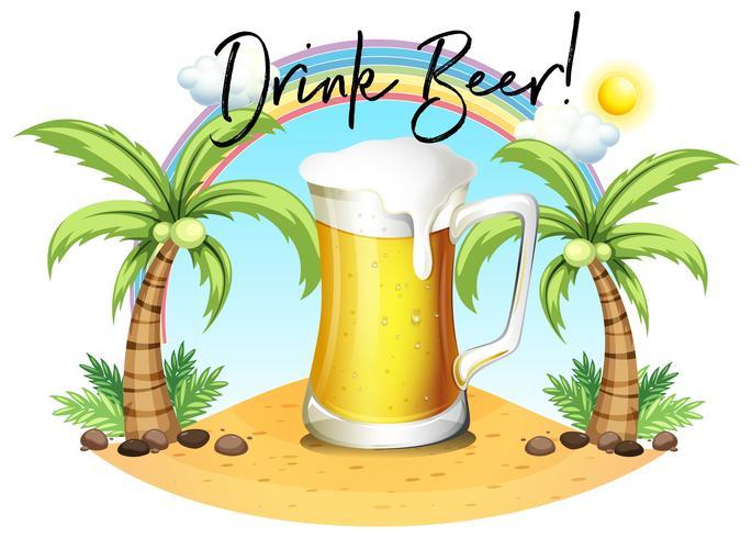 Verre de bière sur la plage