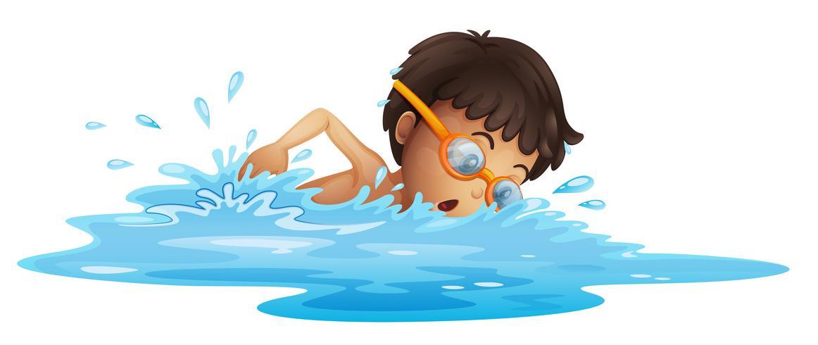 Ein kleiner Junge mit einer gelben Brille schwimmen